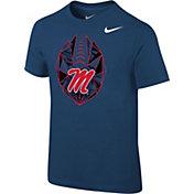 Nike Boys' Ole Miss Rebels Blue Football Icon T-Shirt