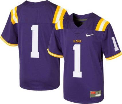 Nike Youth LSU Tigers  1 Purple Game Football Jersey. noImageFound 76a85cac9