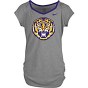 Nike Girls' LSU Tigers Grey Raglan V-Neck T-Shirt