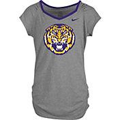 Nike Girls' LSU Tigers Grey Raglan V-Neck T-Shirt