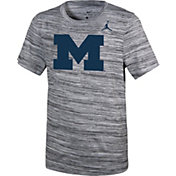 Jordan Youth Michigan Wolverines Velocity Heather Football Dri-FIT Travel Legend T-Shirt