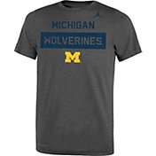 Jordan Youth Michigan Wolverines Grey Dri-FIT Legend Lift Football T-Shirt