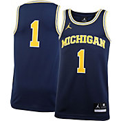 Jordan Youth Michigan Wolverines #1 Blue Replica Basketball Jersey