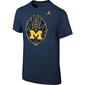 Jordan Youth Michigan Wolverines Blue Football Icon T-Shirt