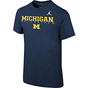 Jordan Youth Michigan Wolverines Blue Football Dri-FIT Facility T-Shirt