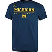Jordan Youth Michigan Wolverines Blue Legend Basketball T-Shirt