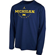 Jordan Youth Michigan Wolverines Blue Legend Basketball Long Sleeve Tee