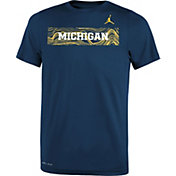 Jordan Youth Michigan Wolverines Blue Football Sideline Legend T-Shirt