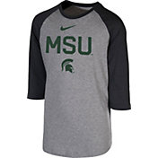 Nike Youth Michigan State Spartans Grey 3/4 Sleeve  Raglan T-Shirt