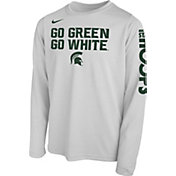 Nike Youth Michigan State Spartans 'Go Green Go White' Bench Legend Long Sleeve White T-Shirt
