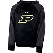 Nike Youth Purdue Boilermakers Black Therma Color Block Hoodie