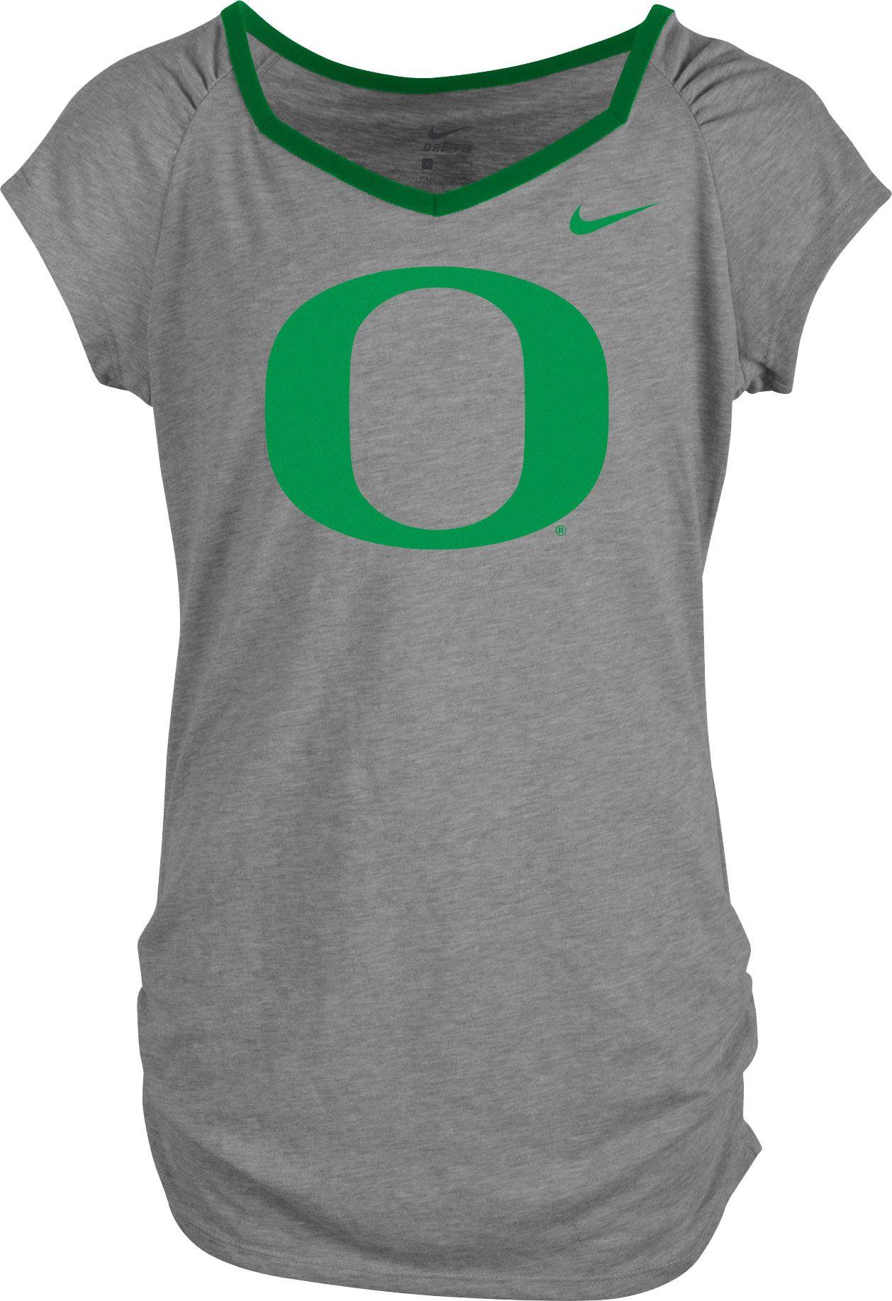 Nike Girls Oregon Ducks Grey Raglan V Neck T Shirt Dicks