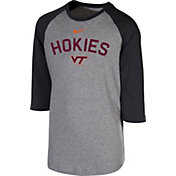 Nike Youth Virginia Tech Hokies Grey 3/4 Sleeve  Raglan T-Shirt