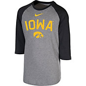 Nike Youth Iowa Hawkeyes Grey 3/4 Sleeve  Raglan T-Shirt