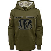Nike Youth Salute to Service Cincinnati Bengals Therma-FIT Olive Performance Hoodie