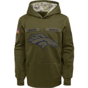 Nike Youth Salute to Service Denver Broncos Therma-FIT Olive Performance Hoodie