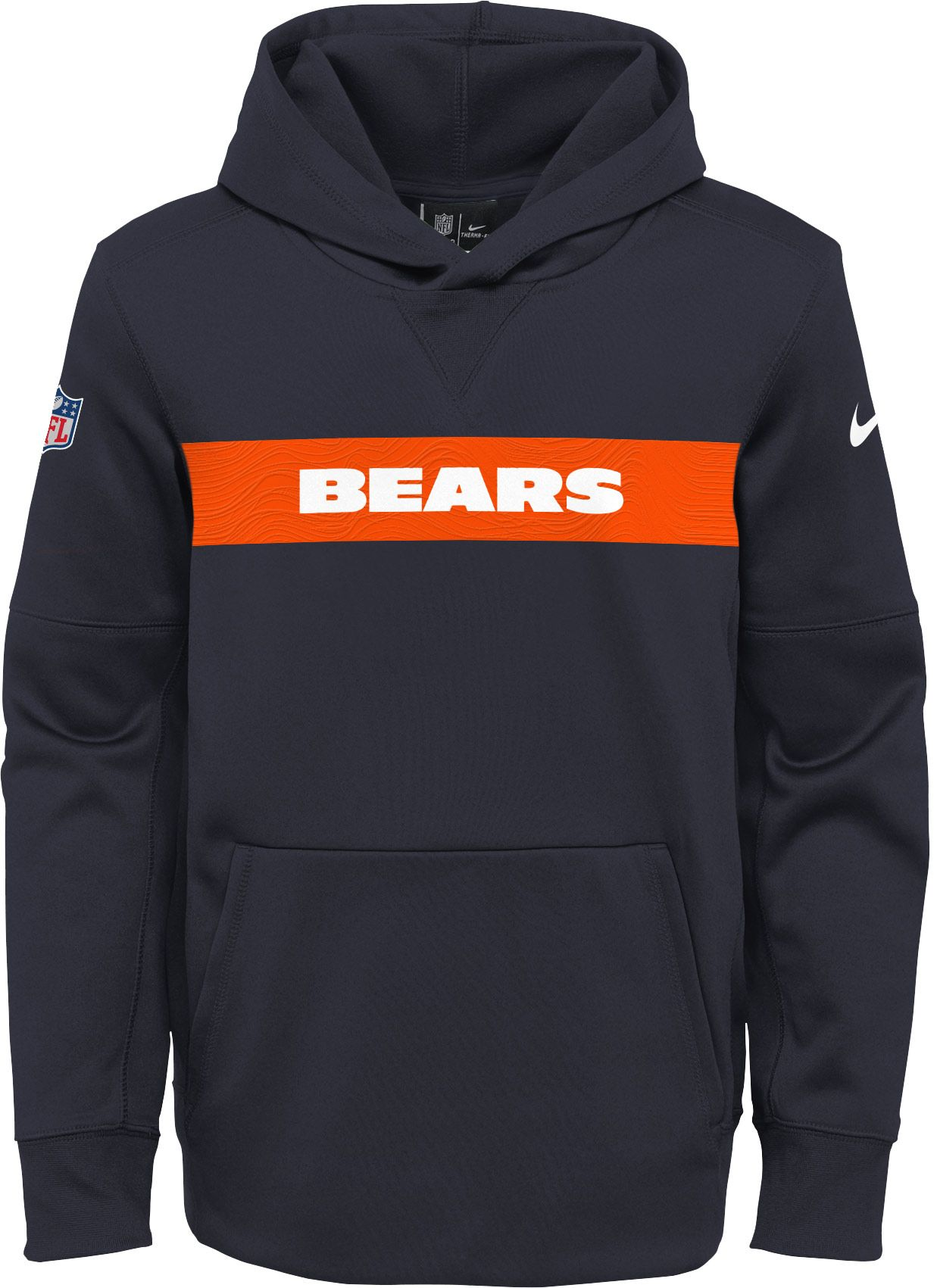 Nike Youth Chicago Bears Sideline Therma-FIT Navy Pullover Hoodie ... 97a6cecc3