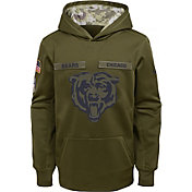 Nike Youth Salute to Service Chicago Bears Therma-FIT Olive Performance Hoodie