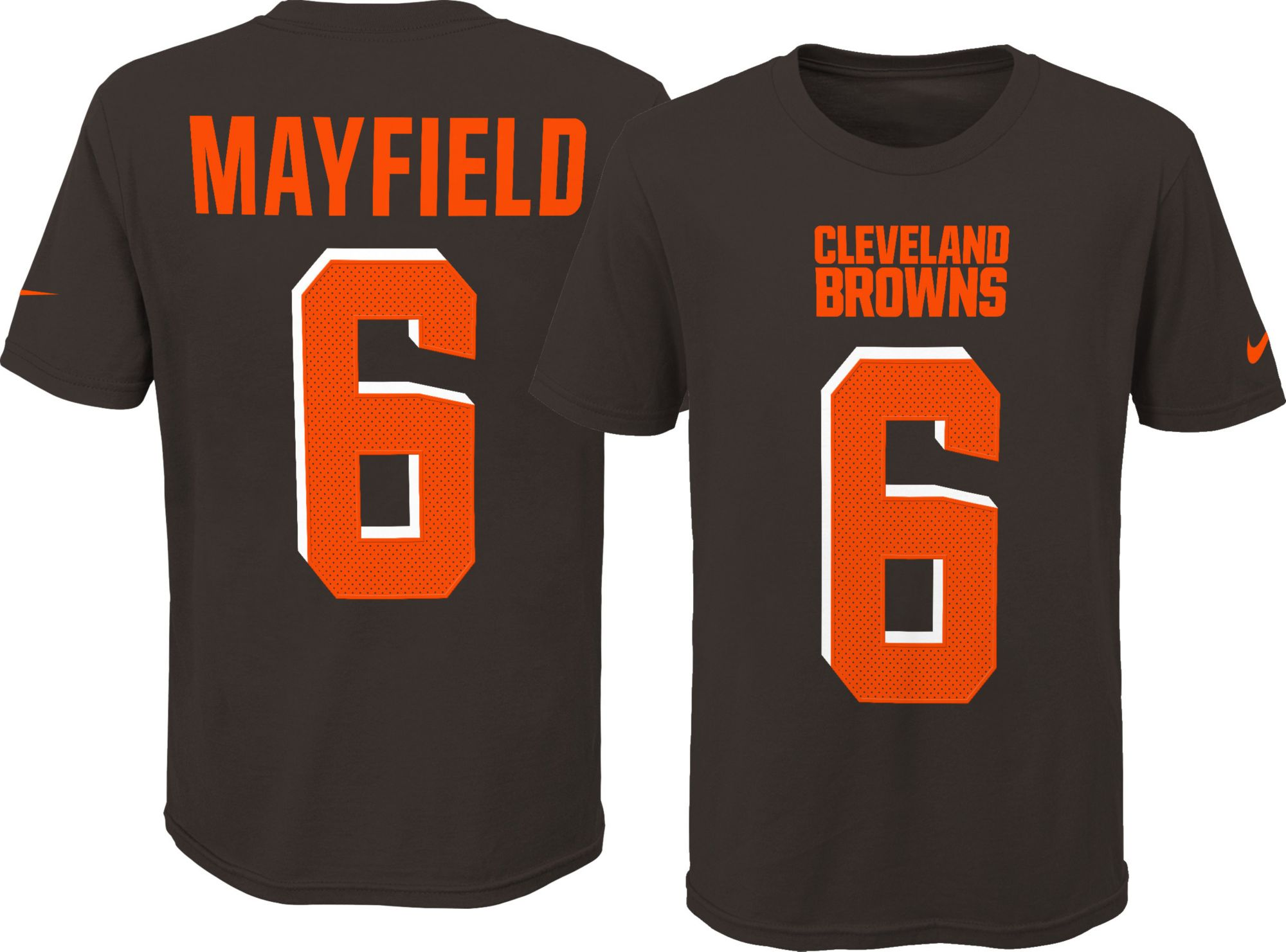cd57751de3c Nike Youth Cleveland Browns Baker Mayfield  6 Pride Brown T-Shirt ...