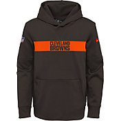 Nike Youth Cleveland Browns Sideline Therma-FIT Brown Pullover Hoodie