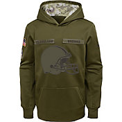 Nike Youth Salute to Service Cleveland Browns Therma-FIT Olive Performance Hoodie
