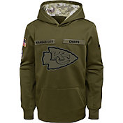 Nike Youth Salute to Service Kansas City Chiefs Therma-FIT Olive Performance Hoodie