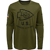 Nike Youth Salute to Service Kansas City Chiefs Legend Long Sleeve Olive Shirt