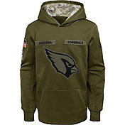 Nike Youth Salute to Service Arizona Cardinals Therma-FIT Olive Performance Hoodie