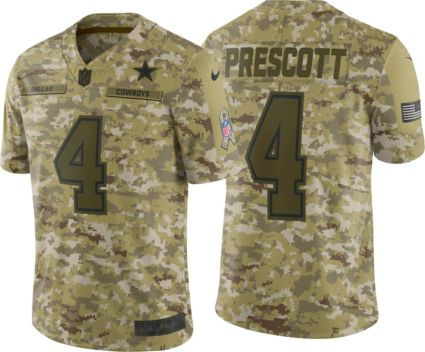 Nike Youth Salute to Service Dallas Cowboys Dak Prescott  4 Camouflage Game  Jersey. noImageFound fa4103606