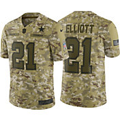 Nike Men's Salute to Service Dallas Cowboys Ezekiel Elliott #21 Camouflage Game Jersey