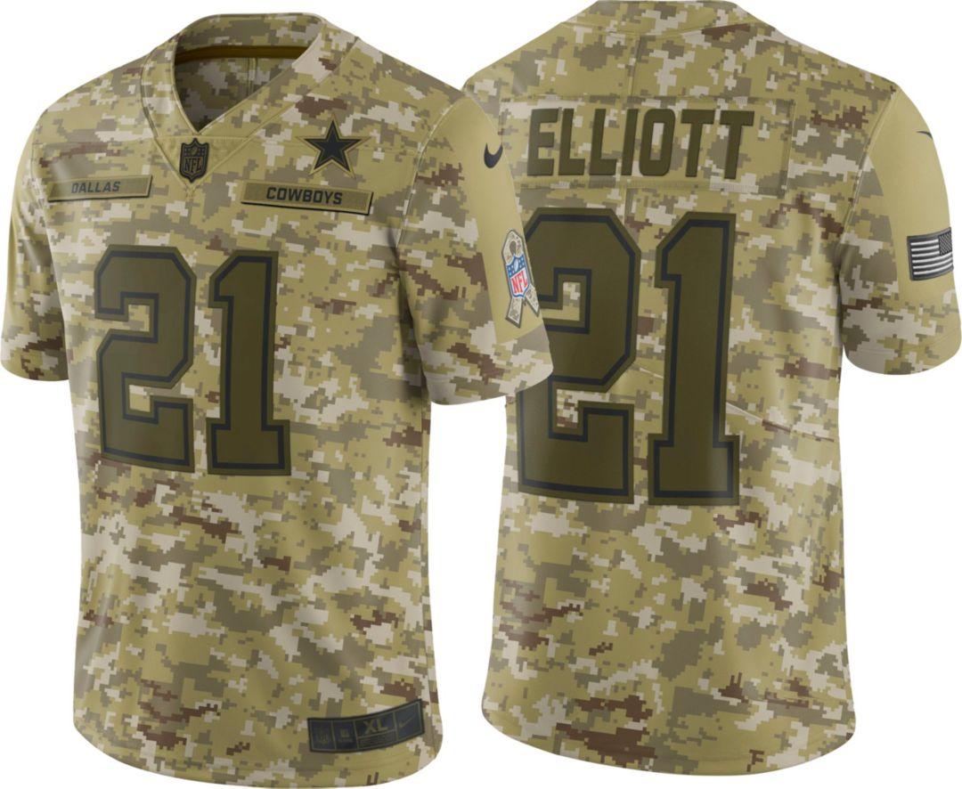 0a7edcbd Nike Youth Salute to Service Dallas Cowboys Ezekiel Elliott #21 Camouflage Game  Jersey 1