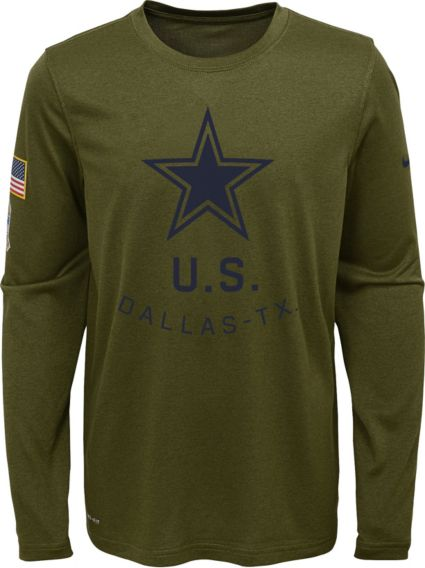 Hot Nike Youth Salute to Service Dallas Cowboys Legend Long Sleeve Shirt  hot sale