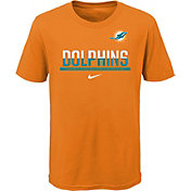 NFL Team Apparel Youth Miami Dolphins Team Practice Orange T-Shirt
