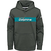 Nike Youth Miami Dolphins Sideline Therma-FIT Anthracite Pullover Hoodie