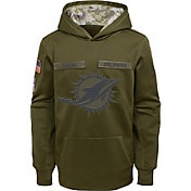 Nike Youth Salute to Service Miami Dolphins Therma-FIT Olive Performance Hoodie