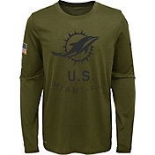 Nike Youth Salute to Service Miami Dolphins Legend Long Sleeve Olive Shirt