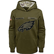 Nike Youth Salute to Service Philadelphia Eagles Therma-FIT Olive Performance Hoodie