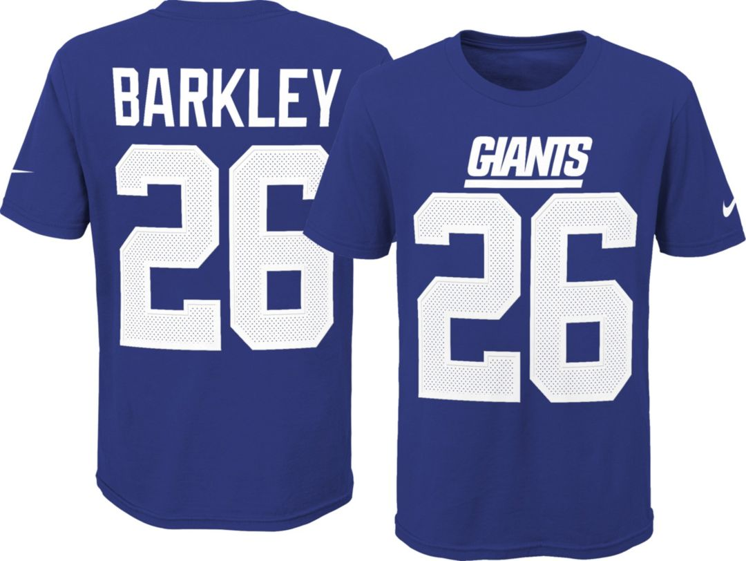 watch 43ef0 59346 Nike Youth New York Giants Saquon Barkley #26 Pride Blue T-Shirt