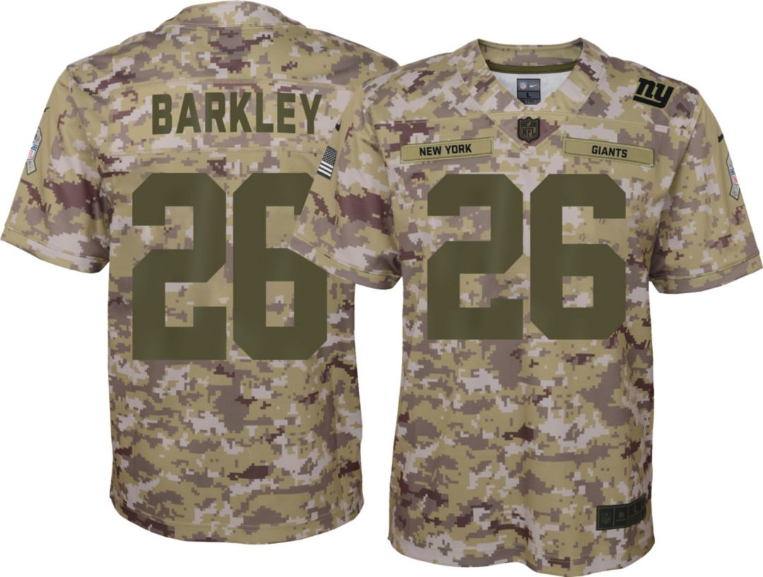 ebc51350392 Nike Youth Salute to Service New York Giants Saquon Barkley #26 Camouflage  Home Game Jersey