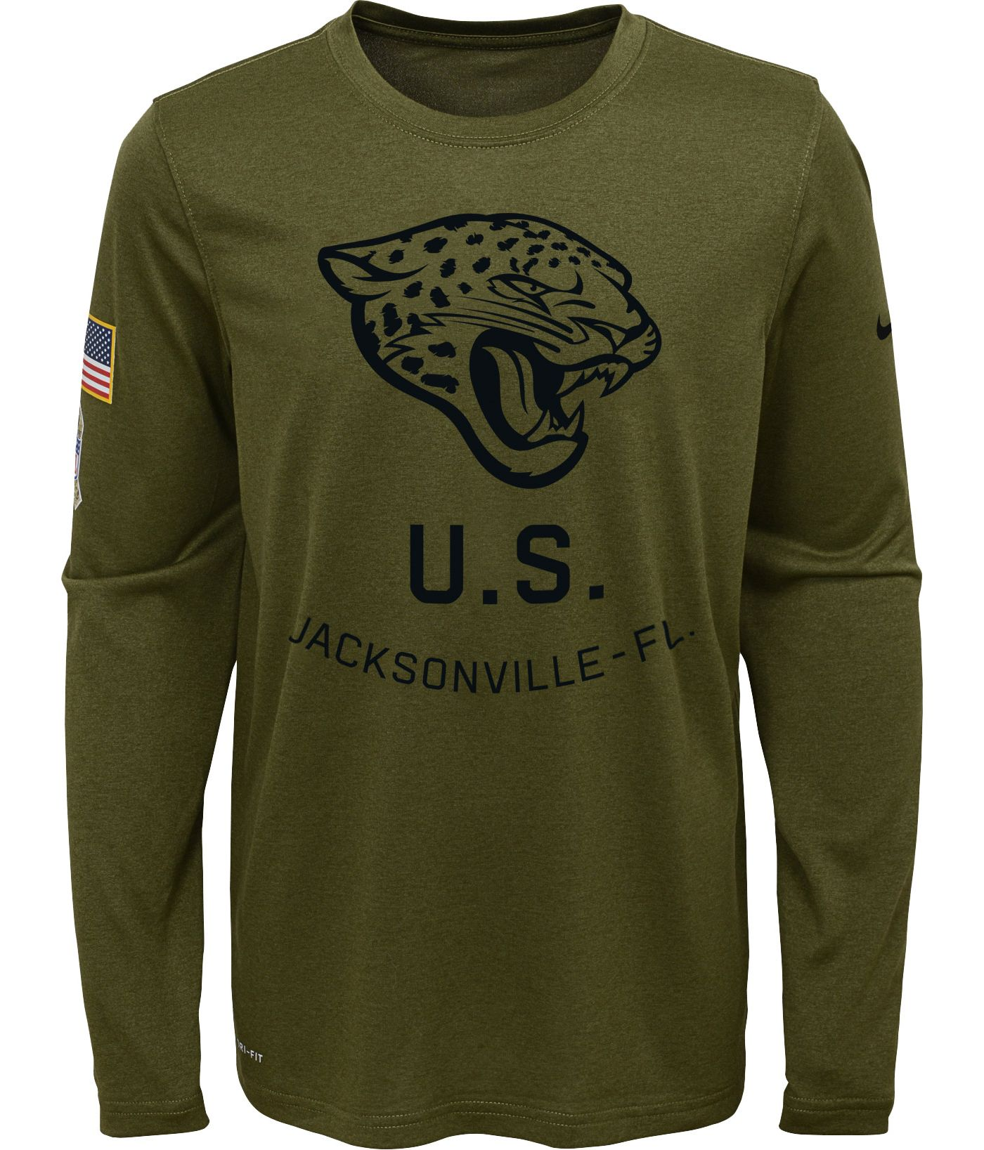 Nike Youth Salute to Service Jacksonville Jaguars Legend Long Sleeve Olive Shirt