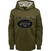 Nike Youth Salute to Service New York Jets Therma-FIT Olive Performance Hoodie