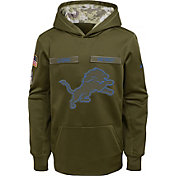 Nike Youth Salute to Service Detroit Lions Therma-FIT Olive Performance Hoodie