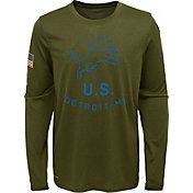 Nike Youth Salute to Service Detroit Lions Legend Long Sleeve Olive Shirt