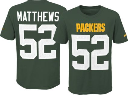 0bdffeb36 Nike Youth Green Bay Packers Clay Matthews  52 Pride Green Player T-Shirt.  noImageFound