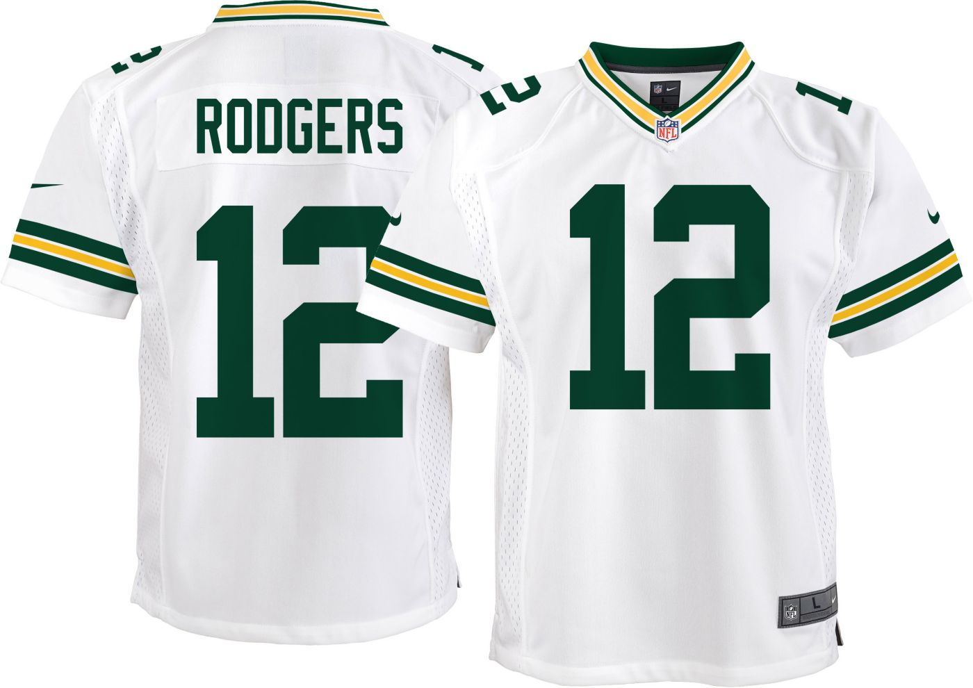 Nike Youth Away Game Jersey Green Bay Aaron Rodgers #12