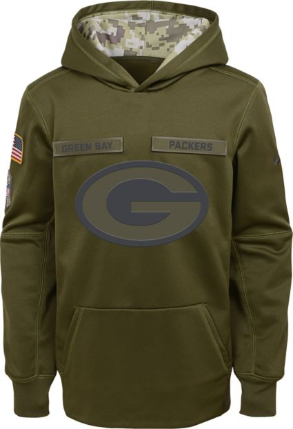 Nike Youth Salute to Service Green Bay Packers Therma-FIT Olive Performance  Hoodie. noImageFound abc62b8ce
