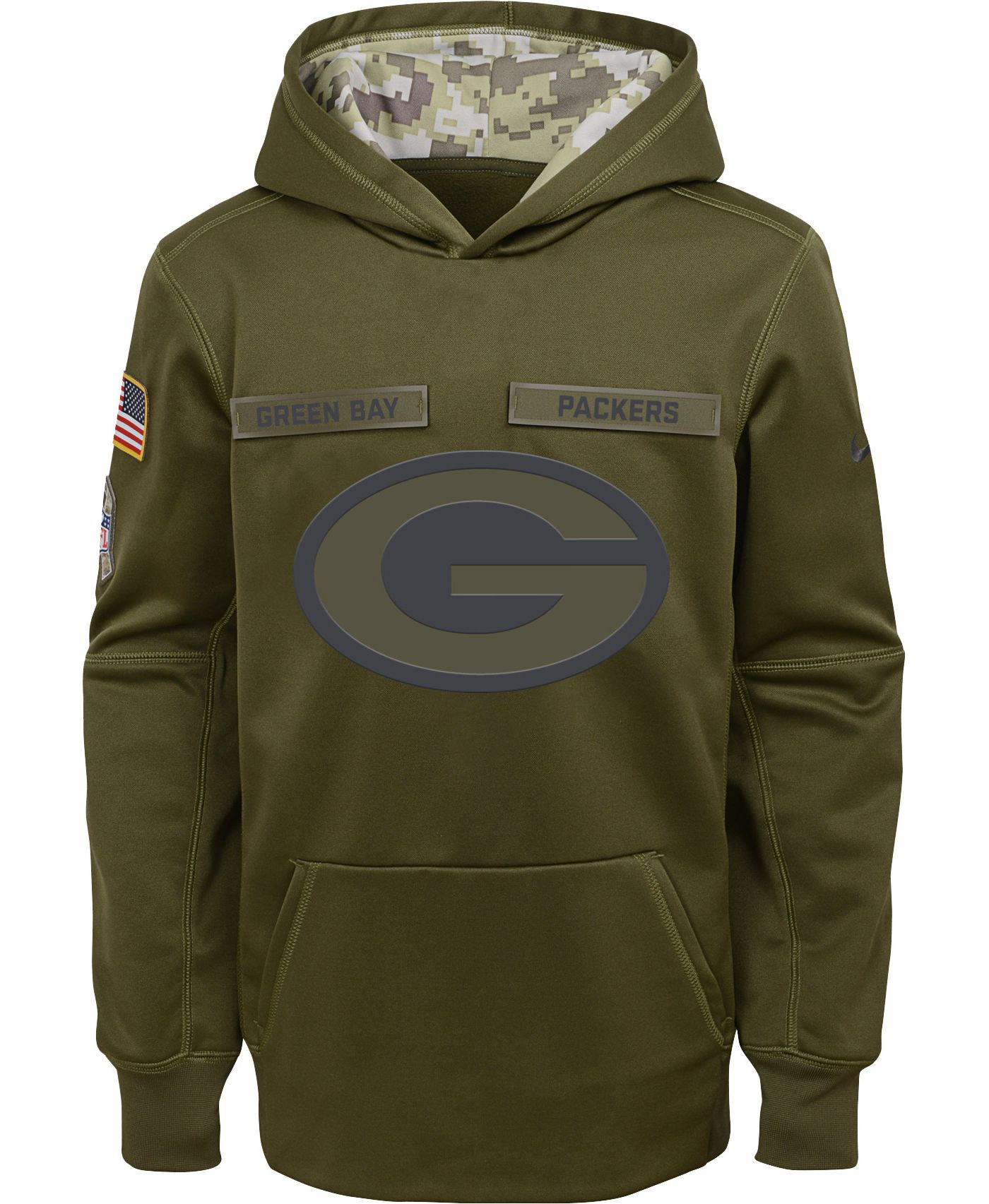Nike Youth Salute to Service Green Bay Packers Therma-FIT Olive Performance Hoodie