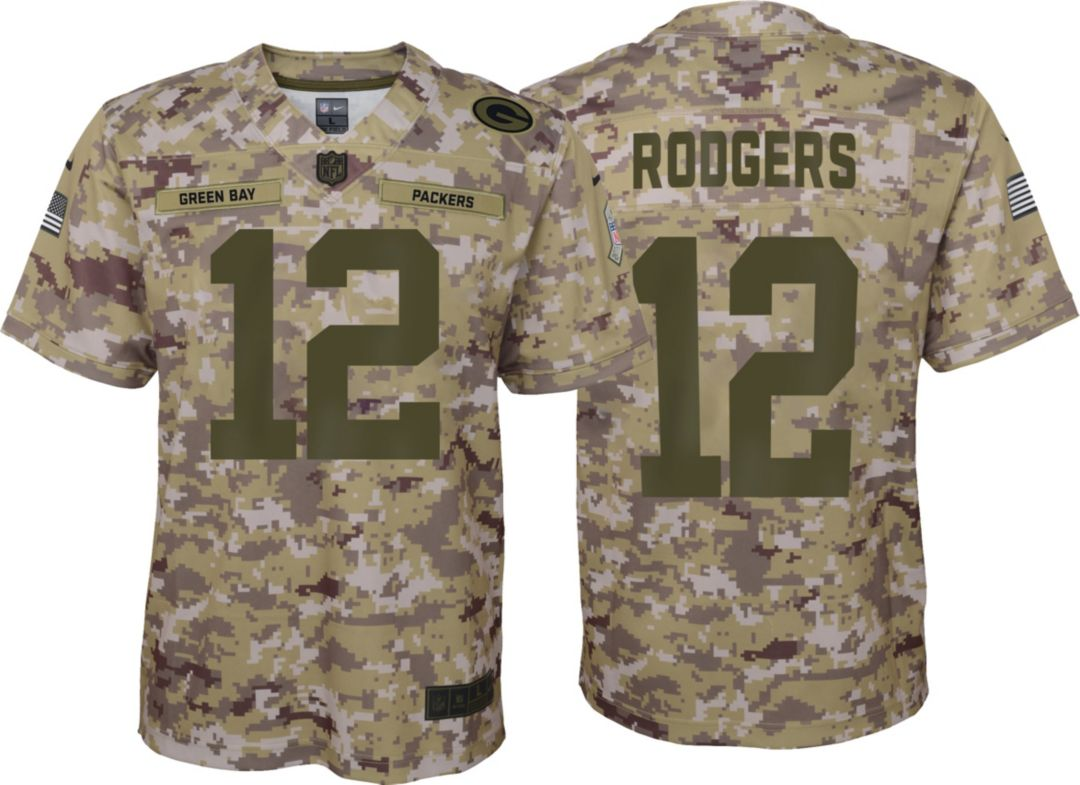 c9997837 Nike Youth Salute to Service Green Bay Packers Aaron Rodgers #12 Camouflage  Home Game Jersey