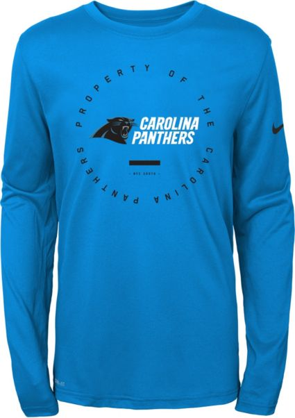 Nike Youth Carolina Panthers Property Of Long Sleeve Blue Shirt.  noImageFound bf7243d65