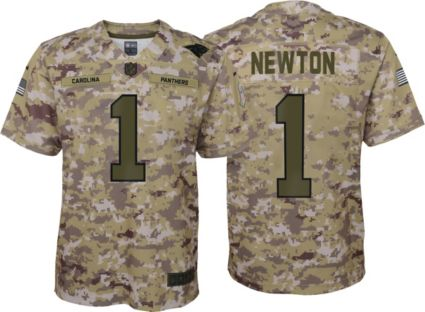 Nike Youth Salute to Service Carolina Panthers Cam Newton  1 Camouflage  Home Game Jersey  f88b951b8